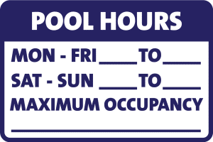 Public Pool Hours of Operation Sign