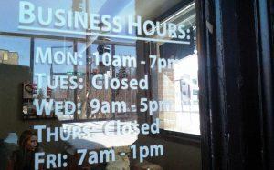 Cut Vinyl Business Hours Door Stickers