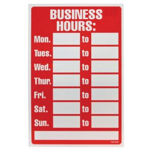 Blank Customizable Hours of Operation Sign