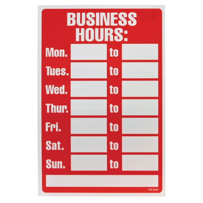 Hours of operation signs by bethel signs graphics marietta ga blank customizable hours of operation sign wajeb Image collections