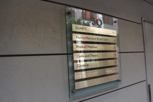 Glass & Metallic Building Directory Sign